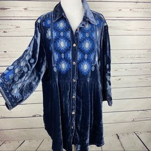Johnny Was Nomi Shirt Velvet Silk Embroidered